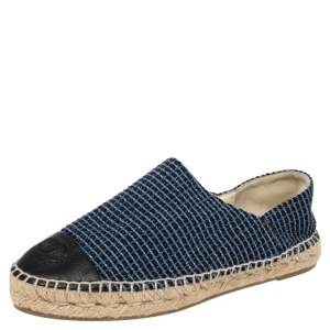 Chanel Blue/Black Tweed And Leather CC Cap Toe Espadrille Flats Size 38