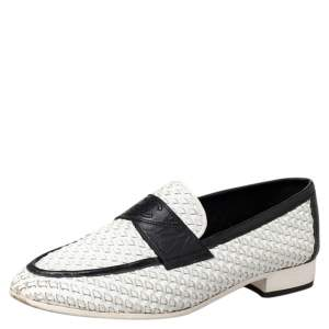 Chanel White/Black Woven Leather Slip On Loafers Size 38