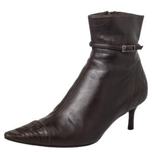 Chanel Brown Leather CC Cap Toe Ankle Length Boots Size 37