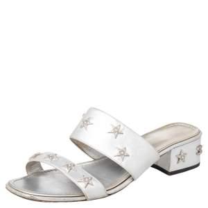 Chanel Silver Leather Embellished Slide Sandals Size 39