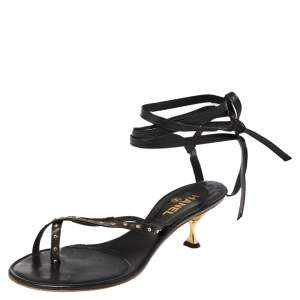 Chanel Black Leather CC Studded Vintage Ankle Wrap Thong Sandals Size 37