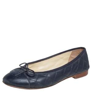 Chanel Blue Quilted Leather CC Cap Toe Ballet Flats Size 37