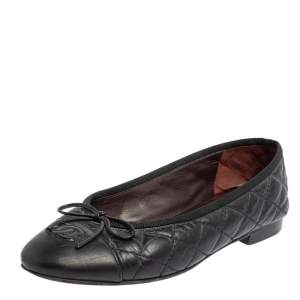 Chanel Black Quilted Leather CC Ballet Flats Size 36.5