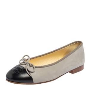 حذاء باليرينا فلات شانيل جلد أسود مقدمة سوداء مزين شعار الماركة سي سي مقاس 36