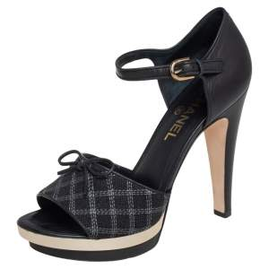 Chanel Black Leather And Canvas Bow Open Toe Platform Ankle Strap Sandals Size 39.5