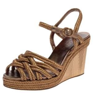 Chanel Metallic Gold Woven Fabric Wedge Platform Sandals Size 38