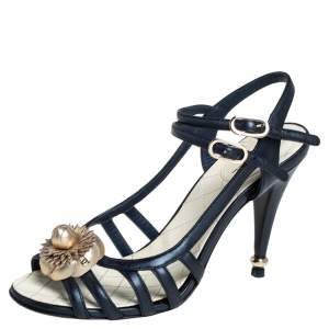 Chanel Midnight Blue Leather Camellia Embellished Ankle Strap Sandals Size 38.5
