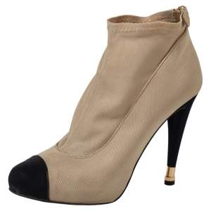 Chanel Beige/Black Stretch Fabric CC Cap Toe Ankle Booties Size 41