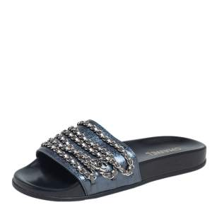 Chanel Metallic Blue Holographic Leather Tropiconic Chain Detail Slides Size 40