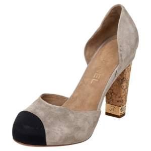 Chanel Suede CC Cork Heel Cap Toe Pumps Size 37.5