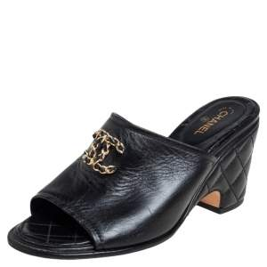 Chanel Black Leather Chain Embellished CC Slide Sandals Size 37.5