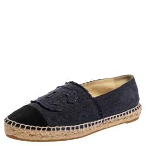 Chanel Blue/Black Canvas CC Cap Toe Espadrille Flats Size 38