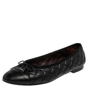 Chanel Black Quilted Leather CC  Bow Ballet Flats Size 42