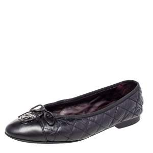 Chanel Black Quilted Leather CC Bow Ballet Flats Size 36