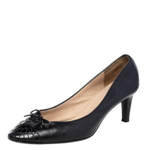 Chanel Black Croc Embossed And Leather CC Bow Pumps Size 37.5