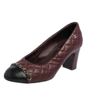 Chanel Burgundy/Black Quilted Leather Chain CC Cap Toe Pumps Size 37.5