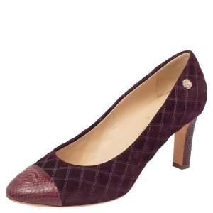 Chanel Burgundy Quilted Suede And Python Leather Cap Toe CC Pumps Size 41.5