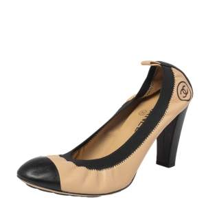 Chanel Beige/Black Leather Cap Toe Scrunch Pumps Size 40.5