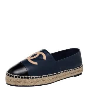 Chanel Blue/Black Leather Cap Toe CC Espadrille Flats Size 40