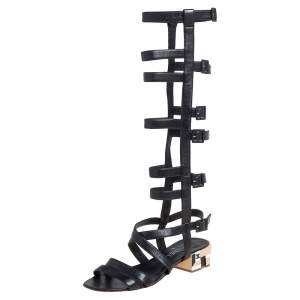Chanel Black Leather Gladiator Sandals Size 40