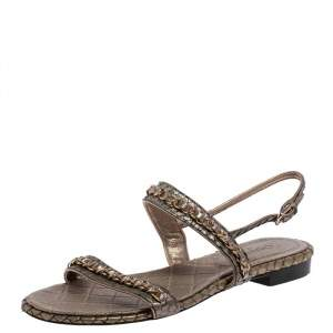 Chanel Gold Quilted Leather and Snakeskin CC Chain Detail Slingback Flat Sandals Size 37.5