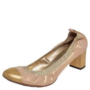 Chanel Gold Suede Scrunch Block Heel Pumps Size 41