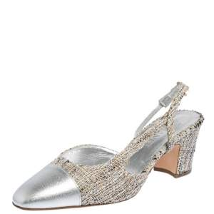 Chanel Silver Leather And Tweed Fabric CC Block Heel Slingback Sandals Size 39.5