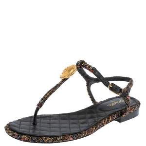 Chanel Multicolor Tweed And Leather CC Ankle Strap Flat Thong Sandals Size 38.5