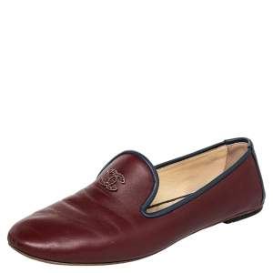 Chanel Burgundy/Blue Leather CC Smoking Slippers Size 40