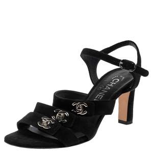 Chanel Black Suede CC  Turnlock Open Toe Sandals Size 36.5