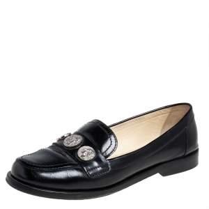 Chanel Black Leather Coin Embellished Slip On Loafers Size 37