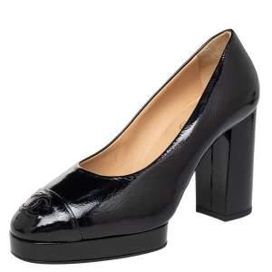 Chanel Black Patent Leather CC Cap Toe Block Heel Pumps Size 37