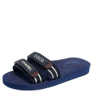 Chanel Multicolor Leather And Canvas Slide Sandals Size 37