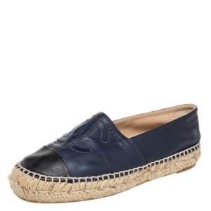 Chanel Navy Blue/Black Leather CC Cap Toe Espadrille Flats Size 36