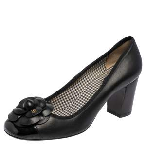Chanel Black Leather and Patent Leather Cap Toe Camellia Block Heel Pumps Size 41