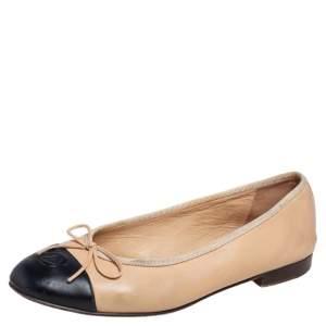 Chanel Beige Leather CC Cap Toe Ballet Flats Size 37.5