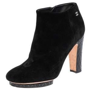 حذاء بوت للكاحل شانيل سويدي أسود مقاس 35.5