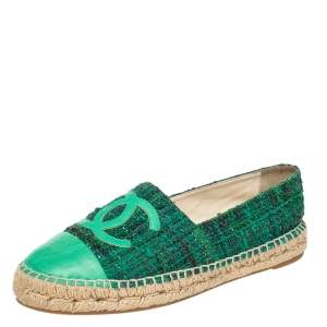 Chanel Green Tweed And Leather CC Cap Toe Espadrille Flats Size 39