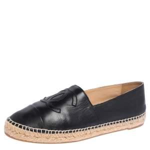 Chanel Black Leather CC Cap Toe Espadrille Flats Size 42