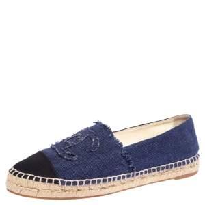 Chanel Black/Blue Canvas Espadrille CC Flats Size 41