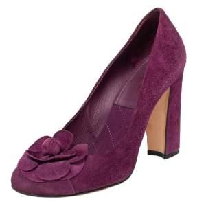 Chanel Purple Suede Camellia CC Block Heel Pumps Size 37