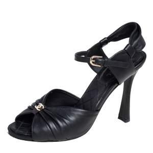 Chanel Black Leather CC Open Toe Ankle Strap Sandals Size 38.5