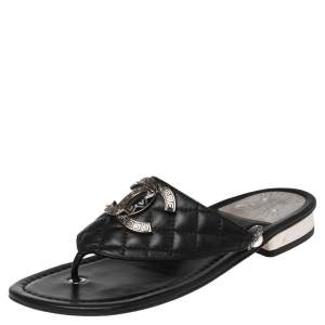 Chanel Black Quilted Leather CC Thong Flats Size 37