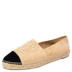 Chanel Beige/Black Suede CC Cap Toe Faux Pearl Embellished Espadrilles Flats Size 41
