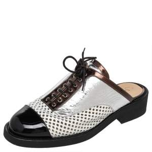 Chanel Multicolor Patent And Leather Lace Up Slip On Mule Sandals Size 39