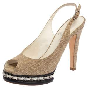Chanel Beige Canvas And Black Leather Peep Toe Platform Slingback Sandals Size 37.5