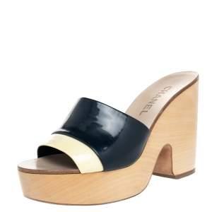 Chanel Cream/Blue Patent Leather CC Wooden Clogs Sandals Size 37.5