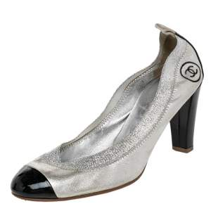 Chanel Silver/Black Patent And Leather CC Cap Toe Pumps Size 39