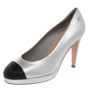 Chanel Silver/Black Nubuck Leather Cap Toe Platform Pumps Size 37.5
