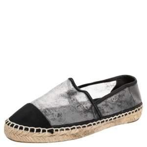 Chanel Black Mesh And Fabric CC Cap Toe Espadrilles Flats Size 41